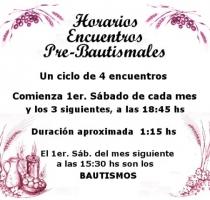 Horarios Encuentros Pre-bautismales